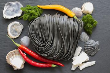 Italian cuisine - Fettuccine al nero di seppia