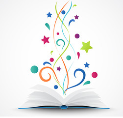 Book opened .abstract with colorful star and wave