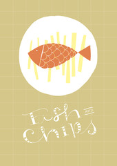 Fish And Chips hand-drawn dish and text
