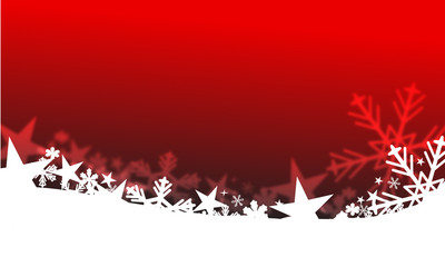 Red background with white stars and snowflakes