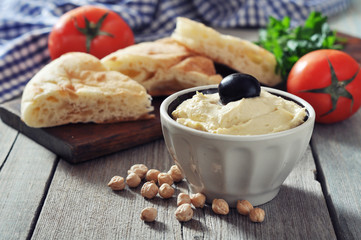 Bowl of fresh hummus