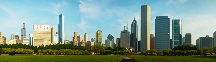 Downtown Chicago as seen from Grant park
