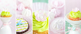 Beautiful collage with cupcakes and cookies in bright colors