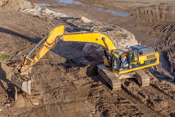 Crawler excavator at work