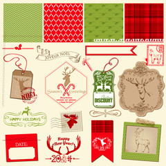 Scrapbook Design Element - Christmas Reindeer Set - frames, tags