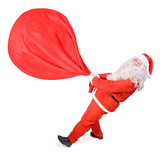 Santa Claus with a big bag on white background
