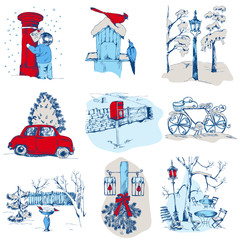 Set of Christmas Elements - for design and scrapbook - in vector