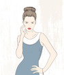 Vector illustration fashion woman in blue dress