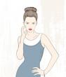 Vector illustration fashion woman in blue dress