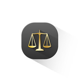 """SCALES OF JUSTICE"" Icon (rights legal advice law button)"