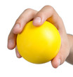 hand sign posture hold yellow ball yellow isolated