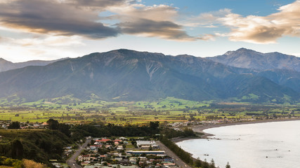 The town of kaikoura at dusk South Island New Zealand