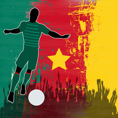 Football Cameroon, Vector Soccer player over a grunged  Cameroon