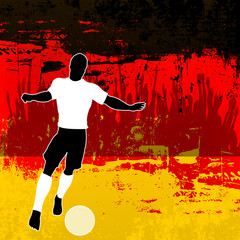 Football Germany, Vector Soccer player over a grunged German Fla