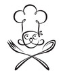 chef with spoon and fork