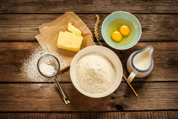 Dough recipe ingredients - vintage rural wood kitchen table