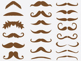 Brown mustaches set illustrated