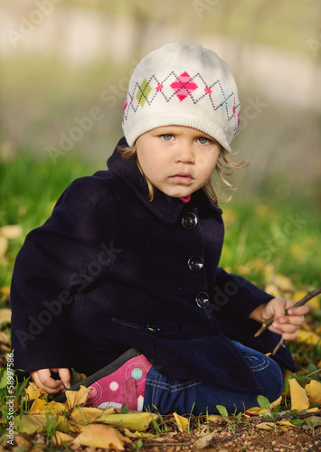 girl with stick