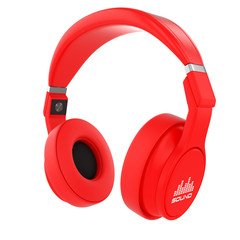 Red musical headphones.