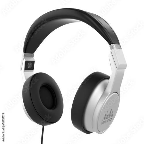 Silver musical headphones.