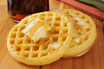 Waffles with maple syrup and butter