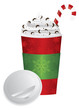 Christmas Espresso Drink To Go Cup with Lid Illustration