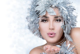Fototapety Fashionable woman portrait with Silver Stylism. Vogue style mode