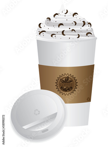 Espresso Drink To Go Cup with Lid Vector Illustration