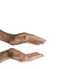 Male Healer sensing energy, white background