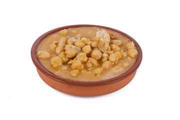 tripe stew with chickpeas in clay pot