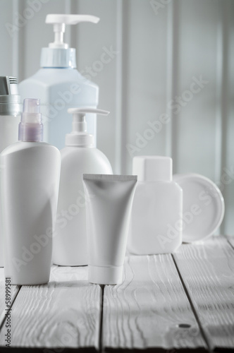 big composition of skincare objects