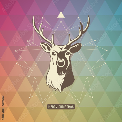 xmas background with geometric pattern, star and deer