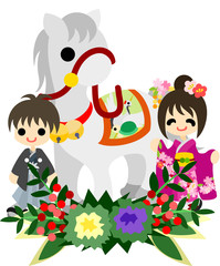和式におめかしした少年と少女と馬