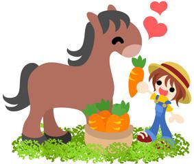 少年が馬ににんじんを与え、馬が喜んでいる