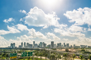 Miami skyline and highways - Daytime