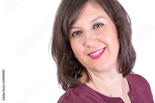 Dark Haired Lady looking at You Naturally Positive