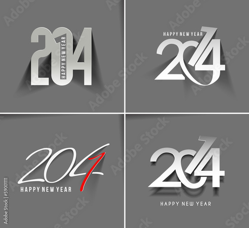 Happy New Year 2014 Text Design (set 2)