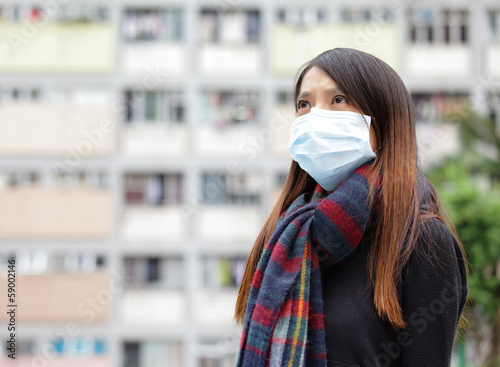 Asian woman with face mask at outdoor