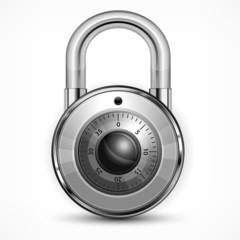 Round metallic code padlock isolated on white, vector