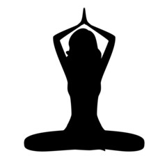 Silhouette young woman practicing yoga