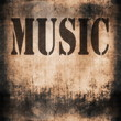 music word, old rusty wall backgrounds and texture