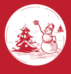 Christmas background with a  snowman dressed tree