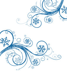 winter floral background with snowflakes