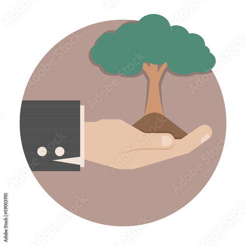 Hands holding a green tree