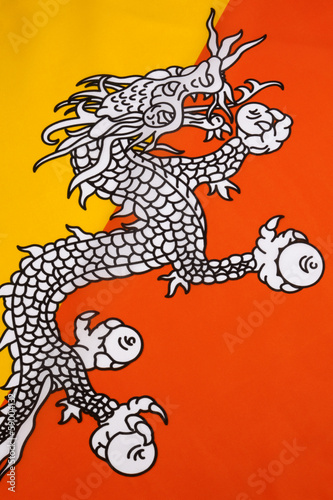 Detail on the flag of the Kingdom of Bhutan