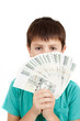 boy holding a fan from czech crown banknotes