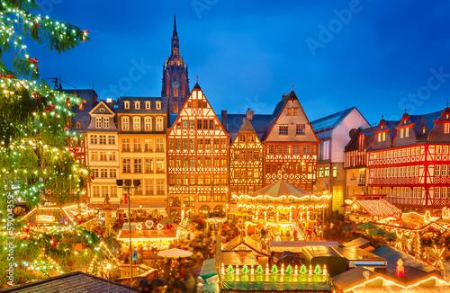 Leinwandbild Motiv Christmas market in Frankfurt