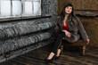 Sensual caucasian woman posing in a vintage interior