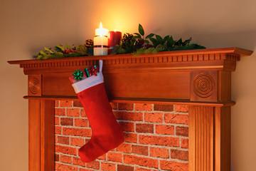 Christmas stocking fire glow