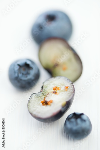 Blueberries, vertical shot, macro